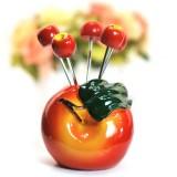 韩版仿真树脂水果叉子套装 零食叉 水果签--苹果