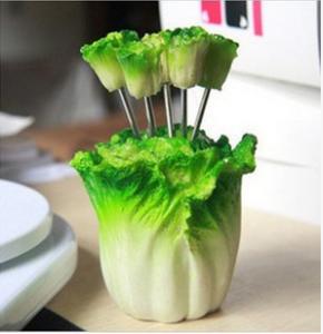 韩版仿真树脂水果叉子套装 零食叉 水果签--大白菜