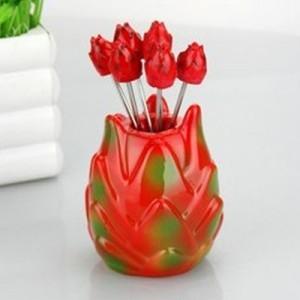 韩版仿真树脂水果叉子套装 零食叉 水果签--火龙果