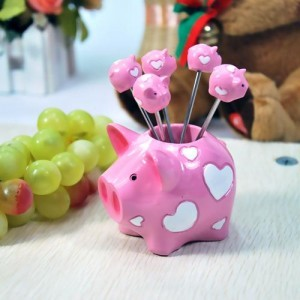 韩版仿真树脂水果叉子套装 零食叉 水果签--粉爱心猪