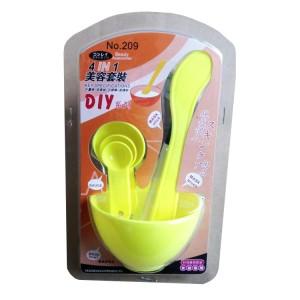 DIY美容四件套面膜碗+面膜棒+面膜刷+计量器 黄色