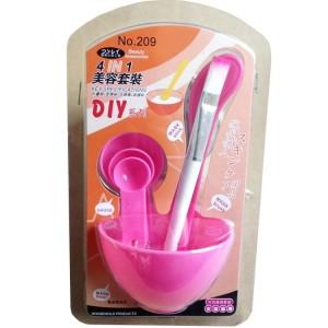 DIY美容四件套面膜碗+面膜棒+面膜刷+计量器 粉色