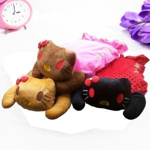 高档加棉抱枕可爱猫防爆电热水袋/暖手宝 头是咖啡色(衣服是玫红色)