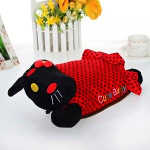 高档加棉抱枕可爱猫防爆电热水袋/暖手宝 头是黑色(衣服是红色黑点)