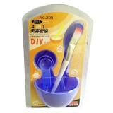 DIY美容四件套面膜碗+面膜棒+面膜刷+计量器 紫色