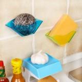 日本创意厨房双吸盘水槽海绵沥水架 多用能浴室杂物收纳架 蓝色