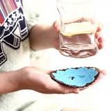 森林小动物蕾丝雕花PVC软胶圆形杯垫 防滑垫 蓝色