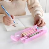 创意多功能糖果色圆形可拆卸大容量收纳盒收纳筒铅笔盒笔筒筷子筒 粉色