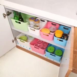 糖果色多功能桌面长方形收纳盒(小号) 白色