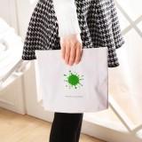 韩版创意便携可挂式洗漱包 化妆包 出行旅游必备收纳袋 白底绿色