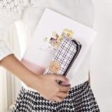 韩国创意小笔袋 四小物 棉麻布波点格子拼色方形文具袋 笔袋MH14-1098 绿边红底
