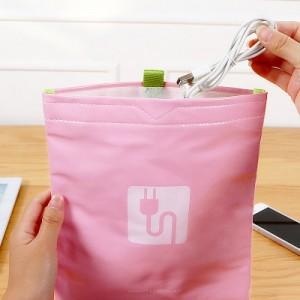 韩版创意多功能数码配件收纳包 数据线 手机 充电宝收纳袋 粉色