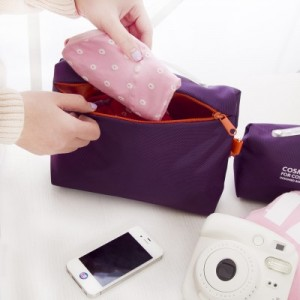 时尚旅行便携洗漱包 可挂式化妆包 多功能收纳包 旅行必备收纳袋(小号) 玫红色