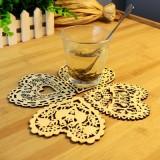 创意厨房用品多功能木质镂空爱心杯垫餐桌隔热垫碗垫 房子