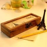 复古时尚巴黎风情多功能文具盒 收纳盒 罗浮宫