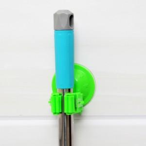多功能强力吸盘拖把夹 挂壁拖把挂架--绿色      500个/箱