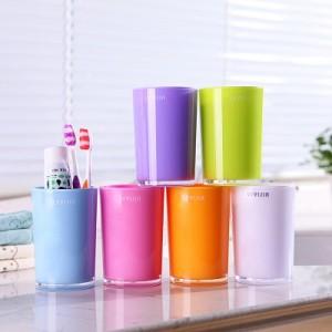 创意糖果色双层双色漱口杯 塑料洗漱杯 牙杯 刷牙杯JW-7711 绿色