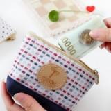 日韩新款时尚撞色棉麻针织船型零钱包钥匙包收纳包 MH14-1097 黄边白底星星