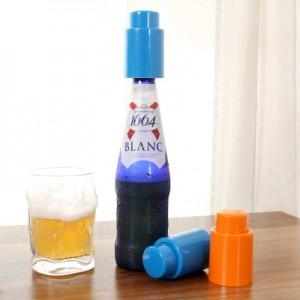 创意红酒塞子盖子密封啤酒塞抽气真空密封葡萄酒塞 蓝色