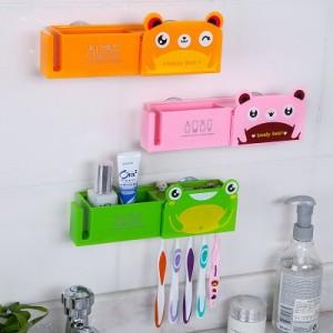 卡通动物双吸盘带盖牙刷架 牙膏牙刷收纳架 白色