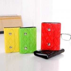 韩版 女士真皮按扣纯色时尚纹卡包 多卡位卡夹 红