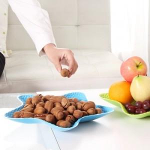 时尚炫彩五角海星多用水果盘 创意塑料盘 干果盘 零食盘  橙色