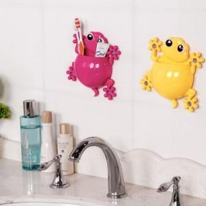 可爱创意壁虎牙刷架 牙膏架组合套装 吸盘收纳架 RB237 黄色
