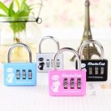 创意旅行箱包密码锁 钢丝小猫铝合金三位密码挂锁CR-20A 蓝色