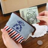日韩新款古朴牛仔条纹拼接皮革贴布印花零钱包钥匙包手包收纳包MH14-202 酒红