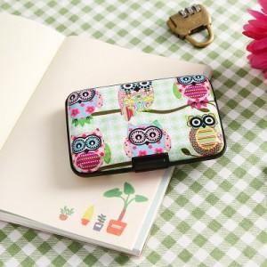 韩国风可爱撞色卡通猫头鹰风琴卡包女式公交卡银行卡套零钱包 2号