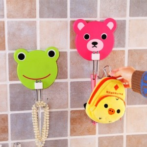 创意可爱卡通超强力吸盘不锈钢挂钩 多功能挂钩 粉色小熊
