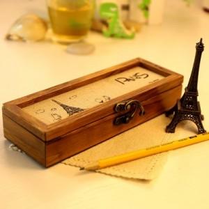 复古时尚巴黎风情多功能文具盒 收纳盒 埃菲尔铁塔