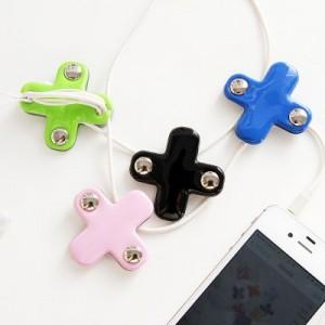 可爱韩国正品 十字绕线器耳机线整理器集线器 手机配件 蓝色