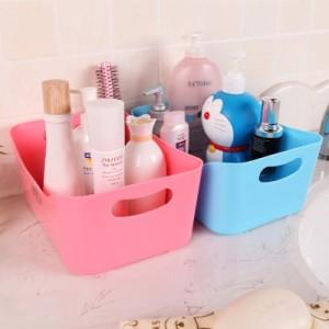 糖果色多功能桌面长方形收纳盒(大号) 粉色