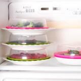 厨房必备 可叠加冰箱保鲜盖 微波炉专用加热防油盖 保鲜盒 绿色