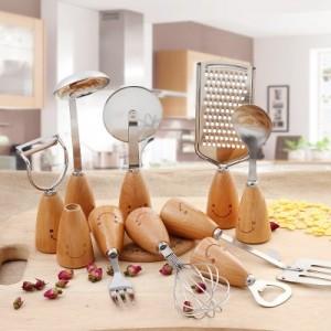 创意家居不锈钢餐具套装 笑脸木质不锈钢饭勺