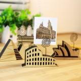 韩国文具可爱创意木质世界建筑留言夹原木复古照片夹便签夹 QL-0803 罗马斗兽场