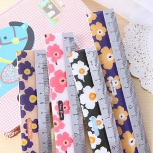 韩国文具  花之语不锈钢短尺 直尺 尺子(15cm)MH1401-185 橙底紫花