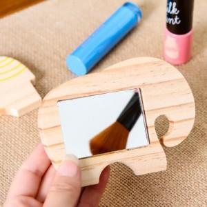 可爱原木质卡通动物化妆镜子便携迷你镜子MH1402-251 鸭子