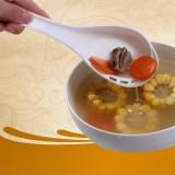 厨房用品 侧漏汤勺长柄大调羹 家庭火锅料理勺 舀汤过滤二合一 白色