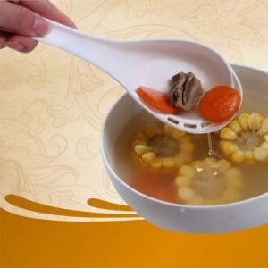 厨房用品 侧漏汤勺长柄大调羹 家庭火锅料理勺 舀汤过滤二合一 绿色