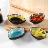 创意 冰裂釉树叶陶瓷调料酱油醋小碟子  深蓝