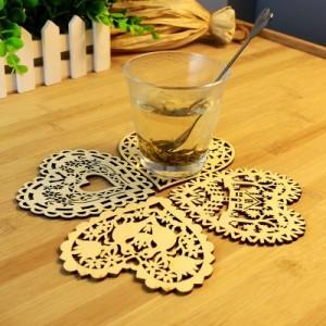创意厨房用品多功能木质镂空爱心杯垫餐桌隔热垫碗垫 小鸟