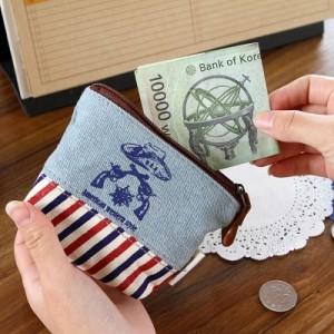 日韩新款古朴牛仔条纹拼接皮革贴布印花零钱包钥匙包手包收纳包MH14-202 深蓝