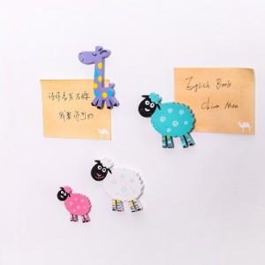 创意可爱木质卡通动物糖果色韩国小小冰箱贴磁铁吸铁石(小绵羊) 粉色