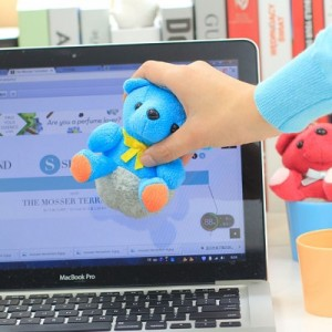 创意杯子熊屏幕键盘汽车多功能清洁擦清洁器 蓝色