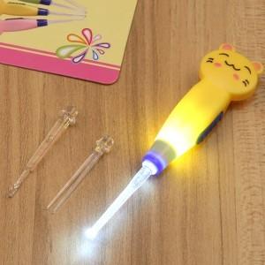 卡通动物发光耳勺/大小耳勺镊子-黄色小猫  250个/箱
