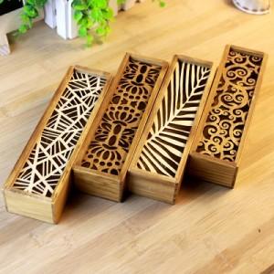 多功能镂空文具盒 木质文具收纳盒 QL-0722 横叶纹