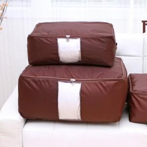 多彩防水牛津布棉被整理袋 可视衣物收纳袋 被子整理箱 大号  咖啡