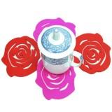 小号玫瑰花多功能橡胶杯垫/隔热垫(2片装)